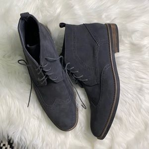 Bruno Marc suede gray lace up dress casual boots